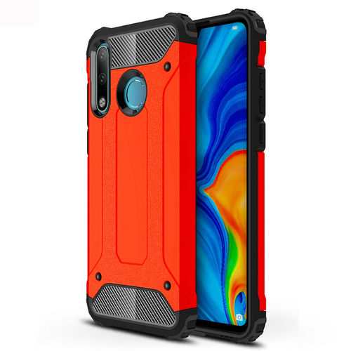 Military Defender Tough Shockproof Case for Huawei P30 Lite - Red